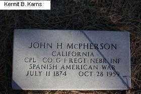 MCPHERSON, JOHN H. - Chase County, Nebraska | JOHN H. MCPHERSON - Nebraska Gravestone Photos