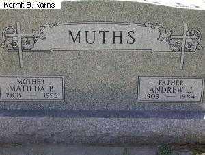 GASPER MUTHS, MATILDA BARBARA 1908-1995 - Chase County, Nebraska | MATILDA BARBARA 1908-1995 GASPER MUTHS - Nebraska Gravestone Photos