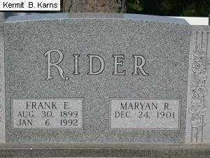 RIDER, FRANK E. - Chase County, Nebraska | FRANK E. RIDER - Nebraska Gravestone Photos
