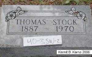 STOCK, THOMAS FRANCIS - Chase County, Nebraska | THOMAS FRANCIS STOCK - Nebraska Gravestone Photos