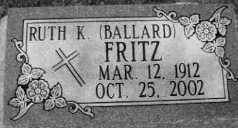 BALLARD FRITZ, RUTH - Cherry County, Nebraska | RUTH BALLARD FRITZ - Nebraska Gravestone Photos