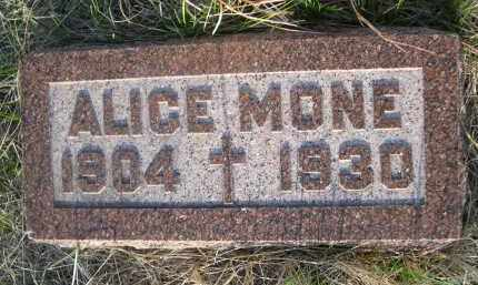 MONE, ALICE - Cherry County, Nebraska | ALICE MONE - Nebraska Gravestone Photos