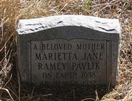RAMEY PAVLIK, MARIETTA JANE - Cherry County, Nebraska | MARIETTA JANE RAMEY PAVLIK - Nebraska Gravestone Photos