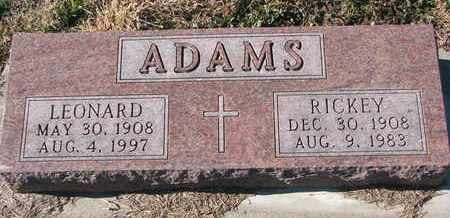 ADAMS, RICKEY - Cuming County, Nebraska | RICKEY ADAMS - Nebraska Gravestone Photos