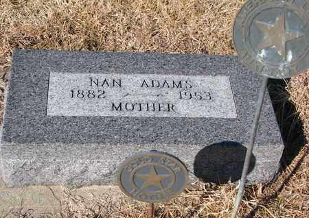 ADAMS, NAN - Cuming County, Nebraska   NAN ADAMS - Nebraska Gravestone Photos
