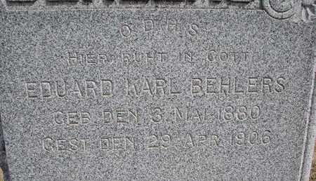 BEHLERS, EDUARD KARL (CLOSEUP) - Cuming County, Nebraska   EDUARD KARL (CLOSEUP) BEHLERS - Nebraska Gravestone Photos