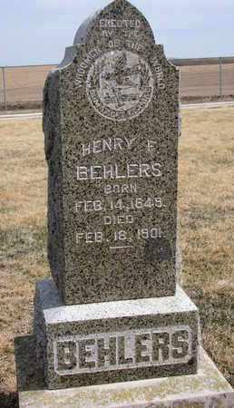 BEHLERS, HENRY F. - Cuming County, Nebraska | HENRY F. BEHLERS - Nebraska Gravestone Photos