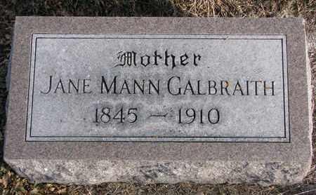 MANN GALBRAITH, JANE - Cuming County, Nebraska | JANE MANN GALBRAITH - Nebraska Gravestone Photos
