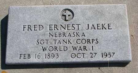 JAEKE, FRED ERNEST - Cuming County, Nebraska | FRED ERNEST JAEKE - Nebraska Gravestone Photos