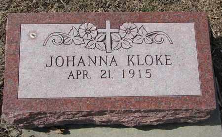 KLOKE, JOHANNA - Cuming County, Nebraska | JOHANNA KLOKE - Nebraska Gravestone Photos