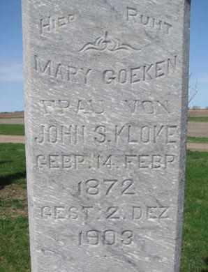 KLOKE, MARY (CLOSE UP) - Cuming County, Nebraska | MARY (CLOSE UP) KLOKE - Nebraska Gravestone Photos