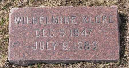 KLOKE, WILHELMINE - Cuming County, Nebraska | WILHELMINE KLOKE - Nebraska Gravestone Photos