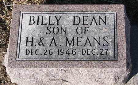 MEANS, BILLY DEAN - Cuming County, Nebraska   BILLY DEAN MEANS - Nebraska Gravestone Photos
