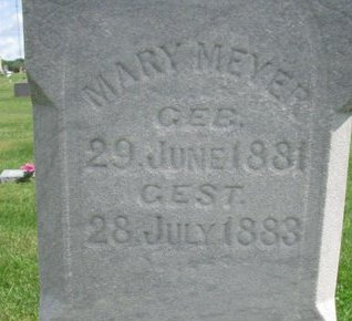 MEYER, MARY (CLOSE UP) - Cuming County, Nebraska | MARY (CLOSE UP) MEYER - Nebraska Gravestone Photos