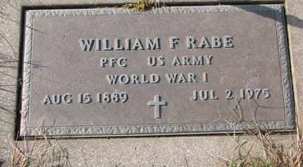 RABE, WILLIAM F. - Cuming County, Nebraska   WILLIAM F. RABE - Nebraska Gravestone Photos