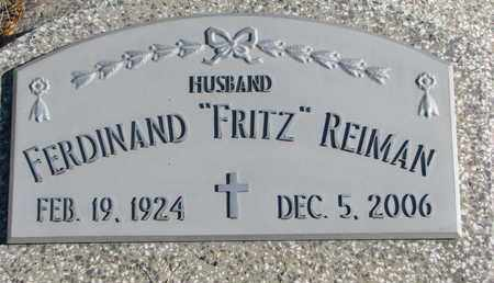 "REIMAN, FERDINAND ""FRITZ"" - Cuming County, Nebraska | FERDINAND ""FRITZ"" REIMAN - Nebraska Gravestone Photos"