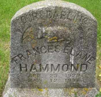 HAMMOND, FRANCES ELANE - Custer County, Nebraska | FRANCES ELANE HAMMOND - Nebraska Gravestone Photos