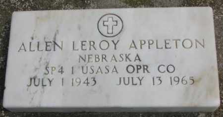 APPLETON, ALLEN LEROY - Dakota County, Nebraska   ALLEN LEROY APPLETON - Nebraska Gravestone Photos