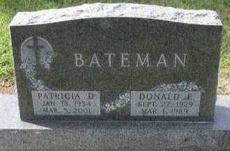 BATEMAN, DONALD E. - Dakota County, Nebraska | DONALD E. BATEMAN - Nebraska Gravestone Photos