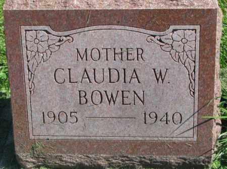 BOWEN, CLAUDIA W. - Dakota County, Nebraska   CLAUDIA W. BOWEN - Nebraska Gravestone Photos