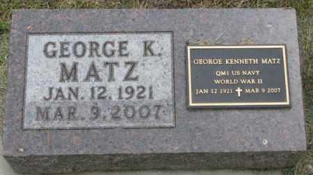 MATZ, GEORGE K. - Dakota County, Nebraska | GEORGE K. MATZ - Nebraska Gravestone Photos