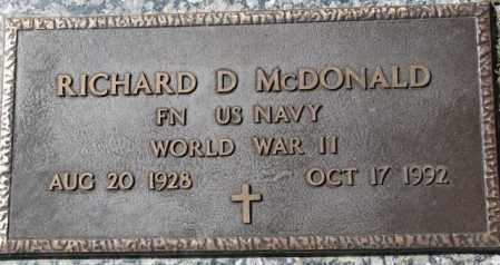 MCDONALD, RICHARD D. - Dakota County, Nebraska | RICHARD D. MCDONALD - Nebraska Gravestone Photos