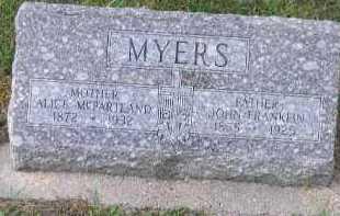 MYERS, JOHN FRANKLIN - Dakota County, Nebraska | JOHN FRANKLIN MYERS - Nebraska Gravestone Photos