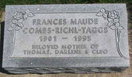 COMBS-RICHL TAGGS, FRANCES MAUDE - Dakota County, Nebraska | FRANCES MAUDE COMBS-RICHL TAGGS - Nebraska Gravestone Photos
