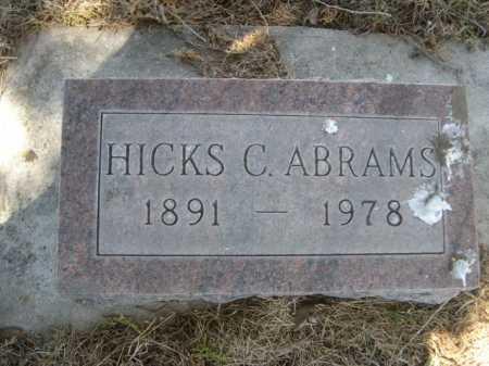 ABRAMS, HICKS S. - Dawes County, Nebraska   HICKS S. ABRAMS - Nebraska Gravestone Photos