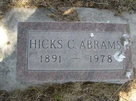 ABRAMS, HICKS S. - Dawes County, Nebraska | HICKS S. ABRAMS - Nebraska Gravestone Photos