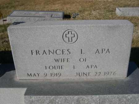 APA, FRANCES L. - Dawes County, Nebraska | FRANCES L. APA - Nebraska Gravestone Photos