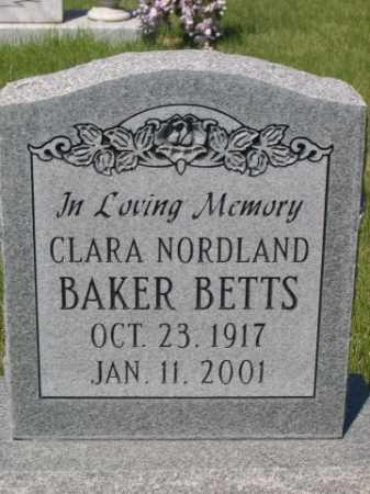 BAKER BETTS, CLARA NORDLAND - Dawes County, Nebraska   CLARA NORDLAND BAKER BETTS - Nebraska Gravestone Photos