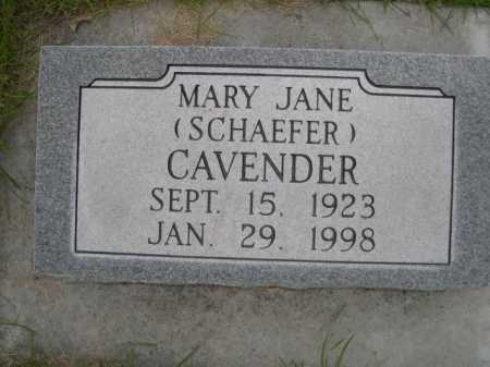 CAVENDER, MARY JANE - Dawes County, Nebraska | MARY JANE CAVENDER - Nebraska Gravestone Photos