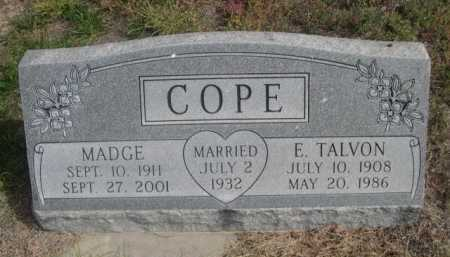 COPE, E. TALVON - Dawes County, Nebraska | E. TALVON COPE - Nebraska Gravestone Photos