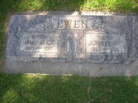 EWEN, MARY ALICE - Dawes County, Nebraska | MARY ALICE EWEN - Nebraska Gravestone Photos