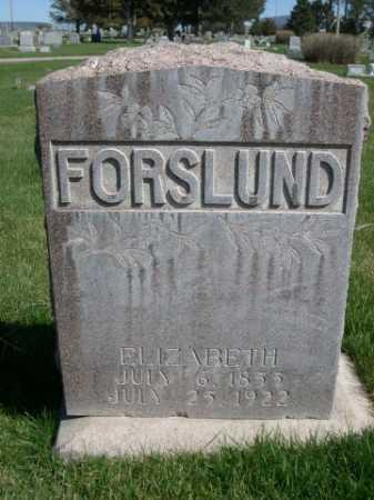 FORSLUND, ELIZABETH - Dawes County, Nebraska | ELIZABETH FORSLUND - Nebraska Gravestone Photos
