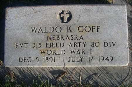 GOFF, WALDO K. - Dawes County, Nebraska | WALDO K. GOFF - Nebraska Gravestone Photos