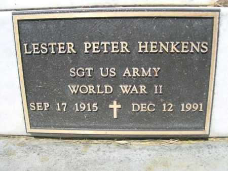 HENKENS (CLOSE UP), LESTER PETER - Dawes County, Nebraska | LESTER PETER HENKENS (CLOSE UP) - Nebraska Gravestone Photos