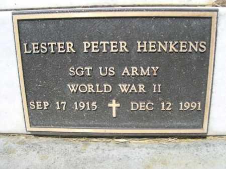 HENKENS (CLOSE UP), LESTER PETER - Dawes County, Nebraska | LESTER PETER HENKENS (CLOSE UP) - Nebraska Gravestone Photos