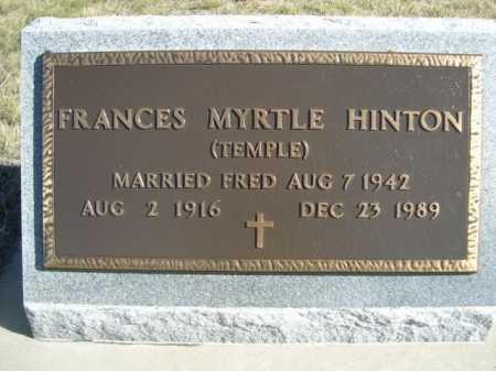 TEMPLE HINTON, FRANCES MYRTLE - Dawes County, Nebraska | FRANCES MYRTLE TEMPLE HINTON - Nebraska Gravestone Photos