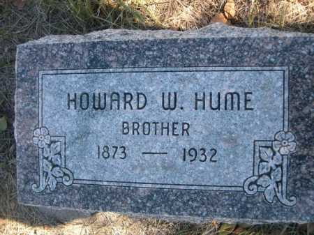 HUME, HOWARD W. - Dawes County, Nebraska   HOWARD W. HUME - Nebraska Gravestone Photos