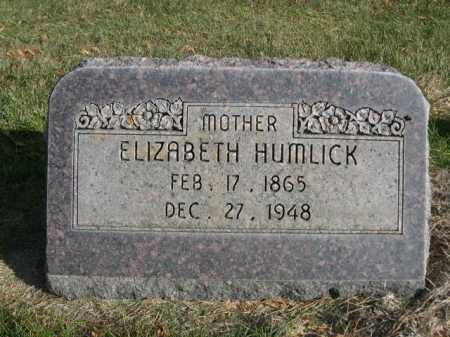HUMLICK, ELIZABETH - Dawes County, Nebraska | ELIZABETH HUMLICK - Nebraska Gravestone Photos