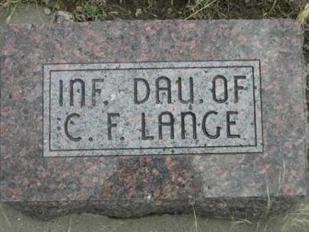 LANGE, INFANT DAUGHTER OF C.F. - Dawes County, Nebraska | INFANT DAUGHTER OF C.F. LANGE - Nebraska Gravestone Photos