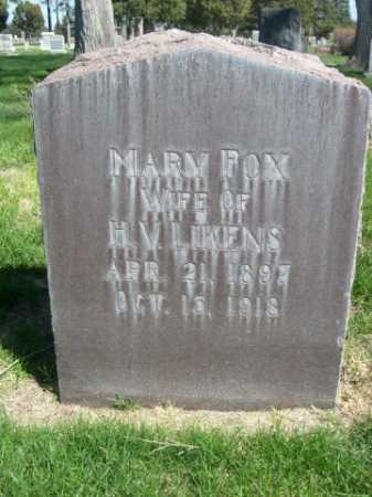LIKENS, MARY FOX - Dawes County, Nebraska | MARY FOX LIKENS - Nebraska Gravestone Photos