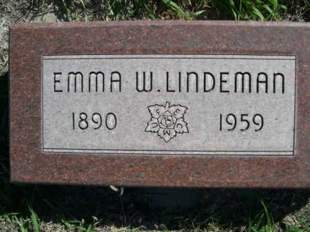 LINDEMAN, EMMA W. - Dawes County, Nebraska | EMMA W. LINDEMAN - Nebraska Gravestone Photos