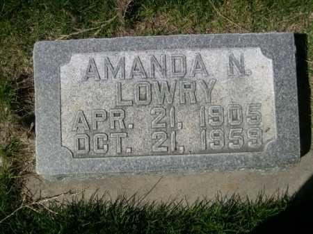 LOWRY, AMANDA N. - Dawes County, Nebraska   AMANDA N. LOWRY - Nebraska Gravestone Photos