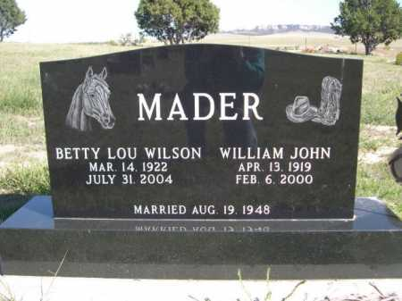 MADER, WILLIAM JOHN - Dawes County, Nebraska | WILLIAM JOHN MADER - Nebraska Gravestone Photos