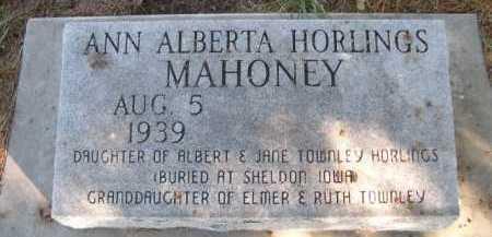 HORLINGS MAHONEY, ANN ALBERTA - Dawes County, Nebraska   ANN ALBERTA HORLINGS MAHONEY - Nebraska Gravestone Photos