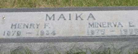 MAIKA, MINERVA E. - Dawes County, Nebraska   MINERVA E. MAIKA - Nebraska Gravestone Photos