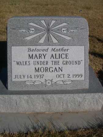 "MORGAN, MARY ALICE ""WALKS UNDER THE GROUND"" - Dawes County, Nebraska | MARY ALICE ""WALKS UNDER THE GROUND"" MORGAN - Nebraska Gravestone Photos"